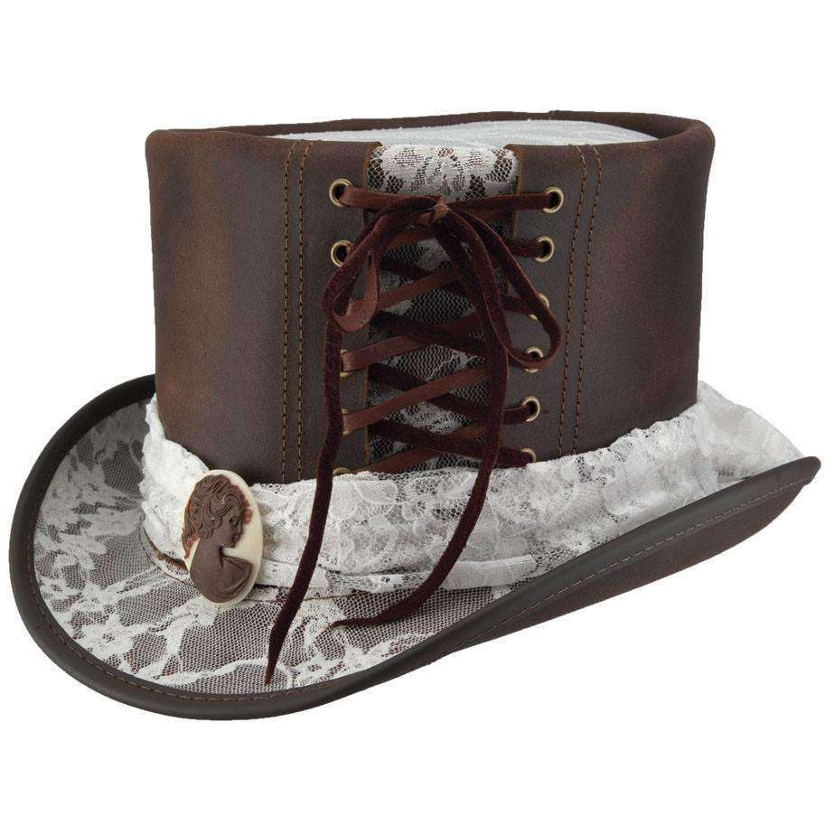 Havisham Leather Steampunk Top Hat - Black - SetarTrading Hats