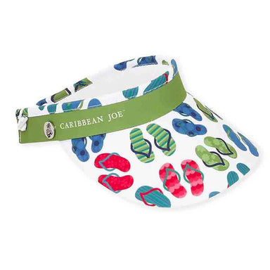 Flip Flop Cotton Sun Visor with Coil - Caribbean Joe® - SetarTrading Hats