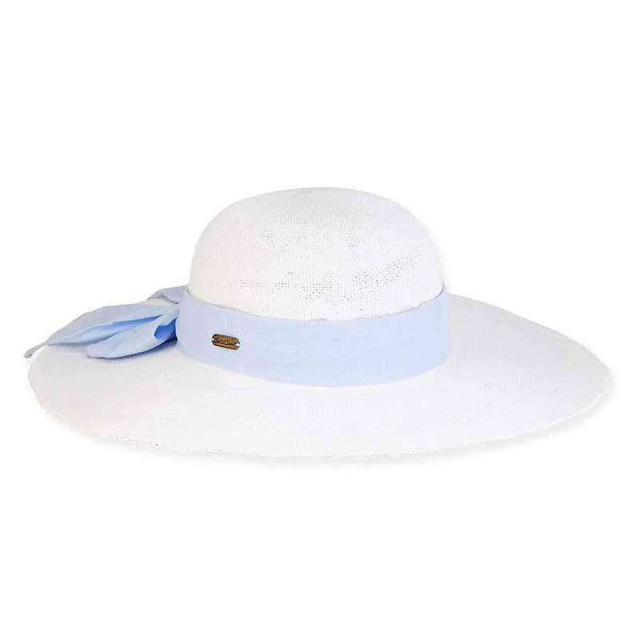 White Bangkok Toyo Beach Hat with Linen Scarf - Caribbean Joe®