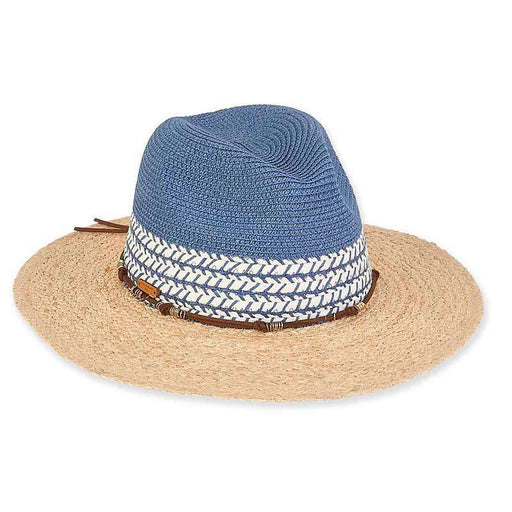 Elise Two Tone Safari Hat with Suede Tie - Caribbean Joe®