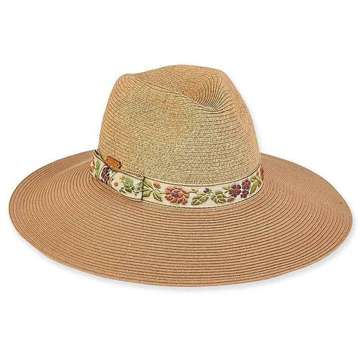 Embroidered Floral Band Safari Hat with Glitzy Crown - Caribbean Joe®