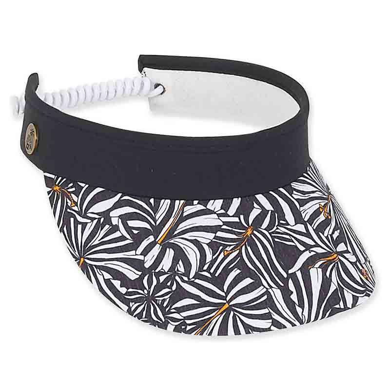 Jade Floral Cotton Sun Visor with Curly Coil - Caribbean Joe