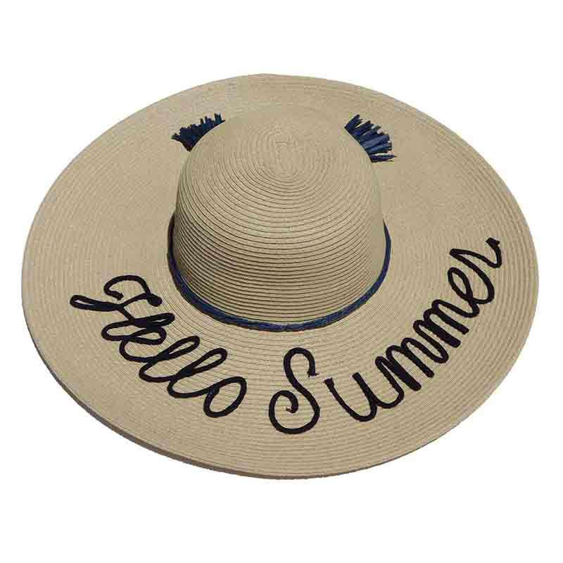 Hello Summer Straw Floppy Hat with Tassel