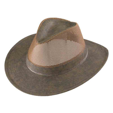 Henschel Hiker H5196 low crown breezer hat distressed olive mesh crown men sun protection hat