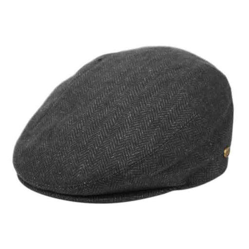 wool felt herringbone flat cap for men. charcoal grey by epoch hat at setartrading hats