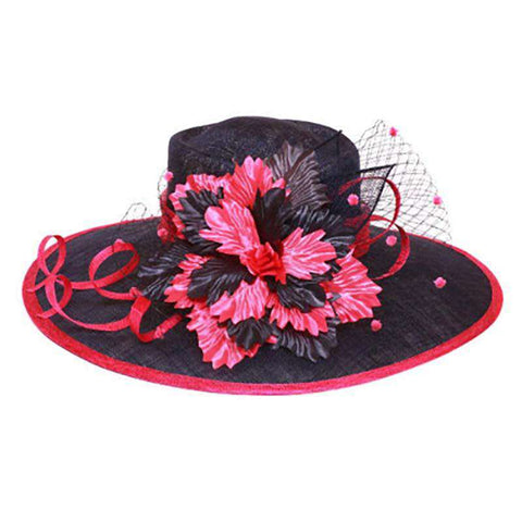 Sinamay Hat with Silky Flower Accent