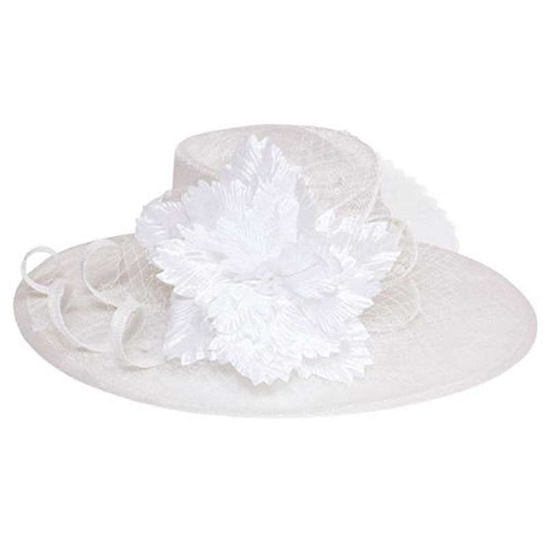 Sinamay Hat with Silky Flower Accent - SetarTrading Hats
