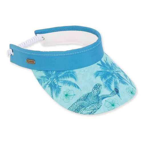 Blue Turtle Cotton Sun Visor with Coil - Guy Harvey® - SetarTrading Hats