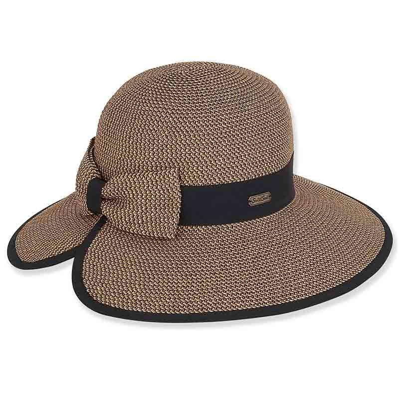 Split Brim Sun Hat with Straw Bow - Sun 'n' Sand®