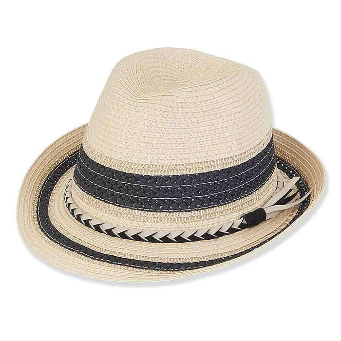 87f2f6643 Striped Crown Fedora with Braided Suede Band - Sun 'n' Sand®