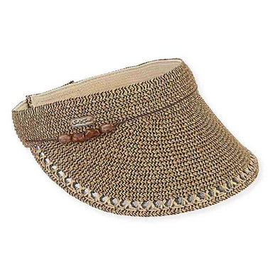 Calla Beaded Trim Sun Visor - Sun 'n' Sand - SetarTrading Hats