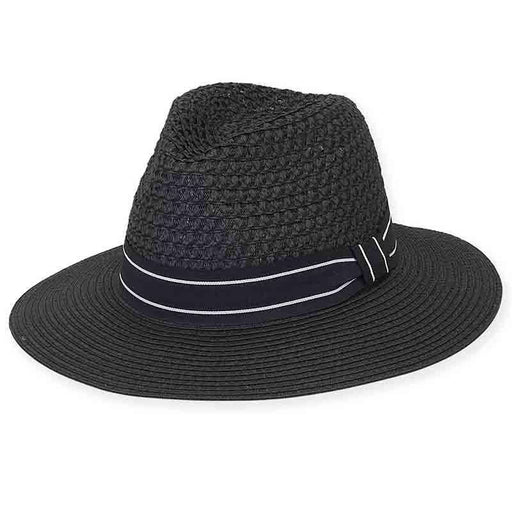 Leeds Black and White Open Weave Safari Hat - Sun 'n' Sand®