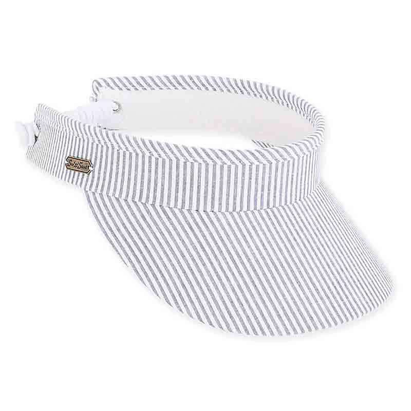 Leah Seersucker Sun Visor with Curly Lace - Sun 'N' Sand