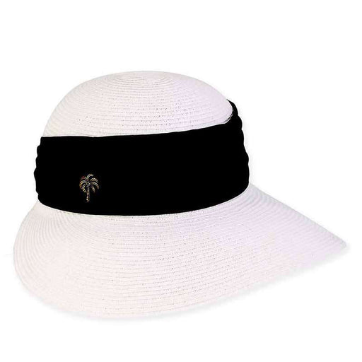 XL Size Women's Hats: Maya Sun Savor Hat with Palm Tree Pin - Sun 'n' Sand®
