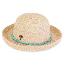 Kylie Raffia Breton with Turquoise Band - Sun 'n' Sand