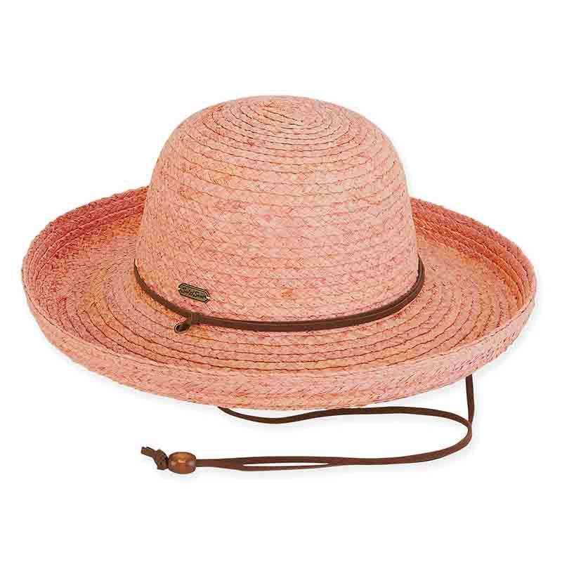 Emily Raffia Up Turned Brim Hat with Chin Strap - Sun 'n' Sand - SetarTrading Hats