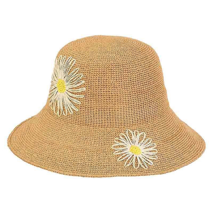 Crocheted Summer Hat with Daisies - Sun 'n' Sand - SetarTrading Hats