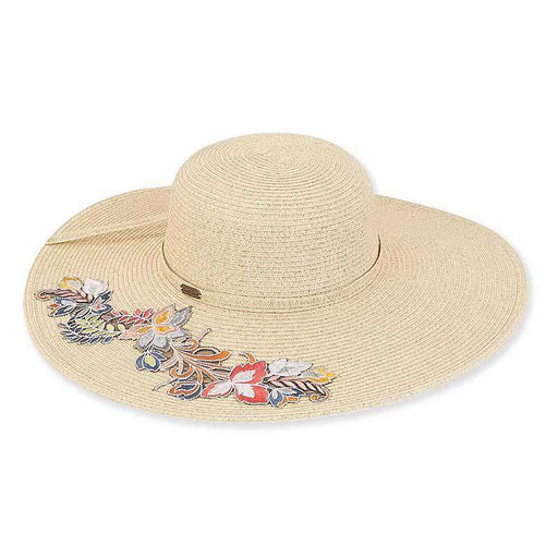 Burgos Colorful Emroidered Applique Beach Hat - Sun'N'Sand® - SetarTrading Hats