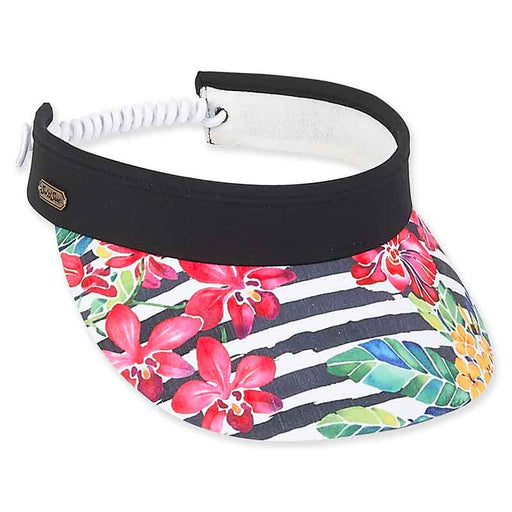 hh2248 pink flower black and white stripe sun visor by sun and sand
