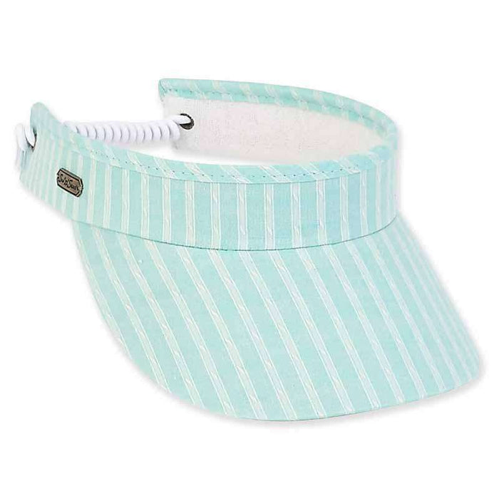 Blair Stiped Cotton Sun Visor with Coil - Sun 'N' Sand® - SetarTrading Hats