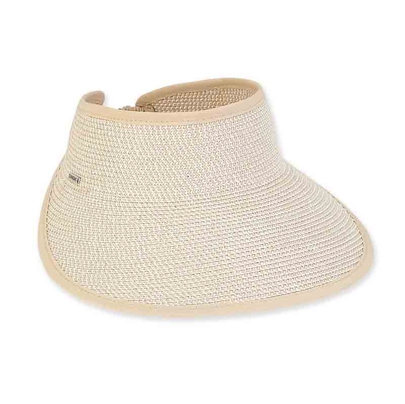 Tweed Wide Brim Sun Visor with Elastic Back - Sun'N'Sand