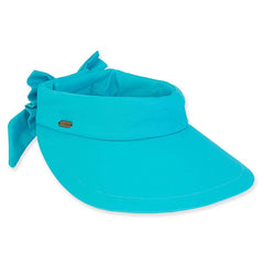 Cotton Wide Brim Sun Visor with Bow