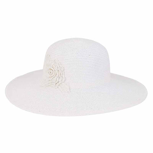 Kinsley Crochet Flower Accented Summer Floppy Hat - Sun'N'Sand®