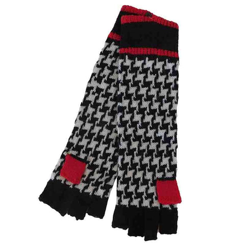 Houndstooth Long Arm Fingerless Gloves by JSA - Taupe