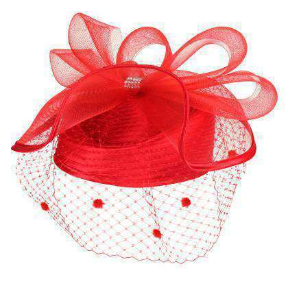 Satin Braid Pillbox Hat with Netting Veil - SetarTrading Hats
