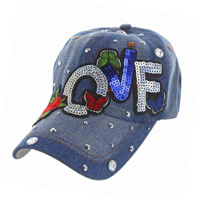 Denim LOVE Sequin and Rose Baseball Cap