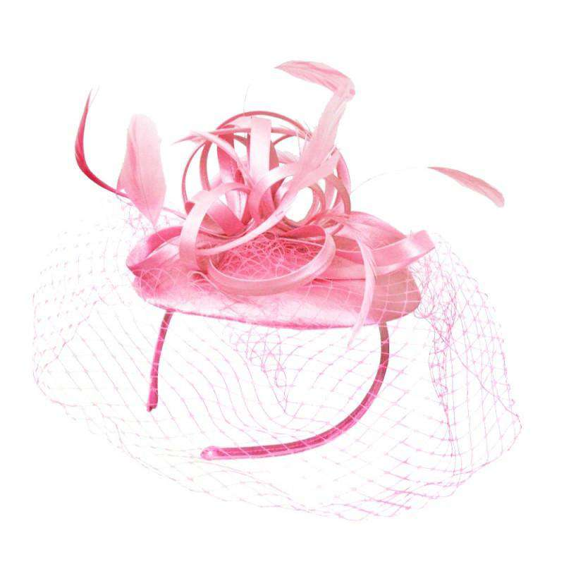 Loopy Satin Fascinator with Netting Veil - SetarTrading Hats