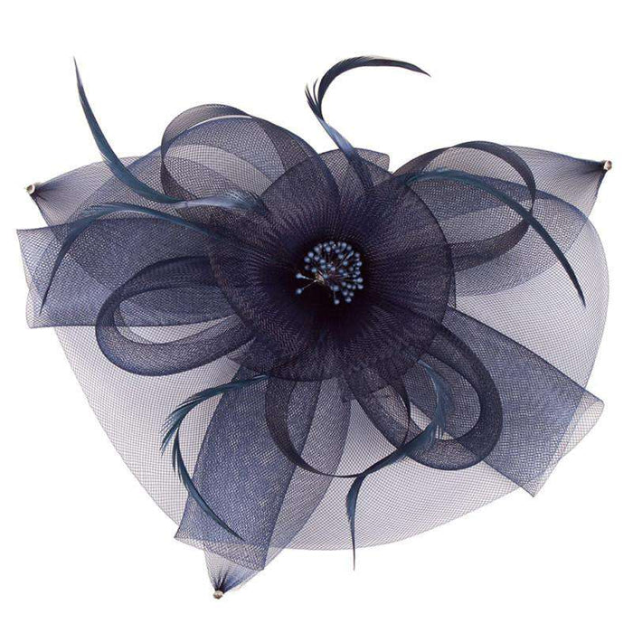 Round Mesh with Feather Fascinator - SetarTrading Hats
