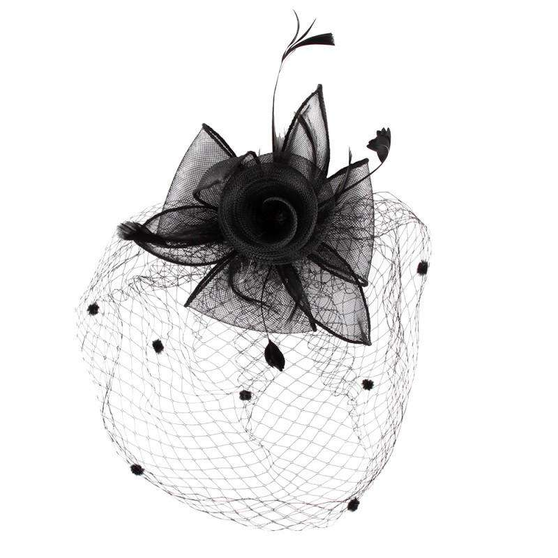 Mesh Flower and Dotted Veil Fascinator - SetarTrading Hats