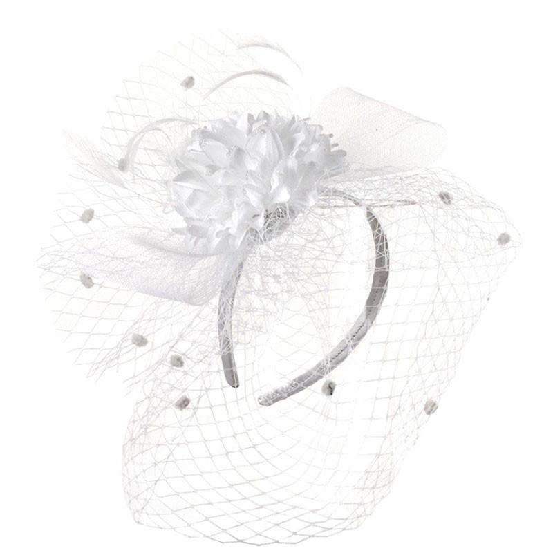 Carnation Flower Fascinator with Netting Veil - SetarTrading Hats
