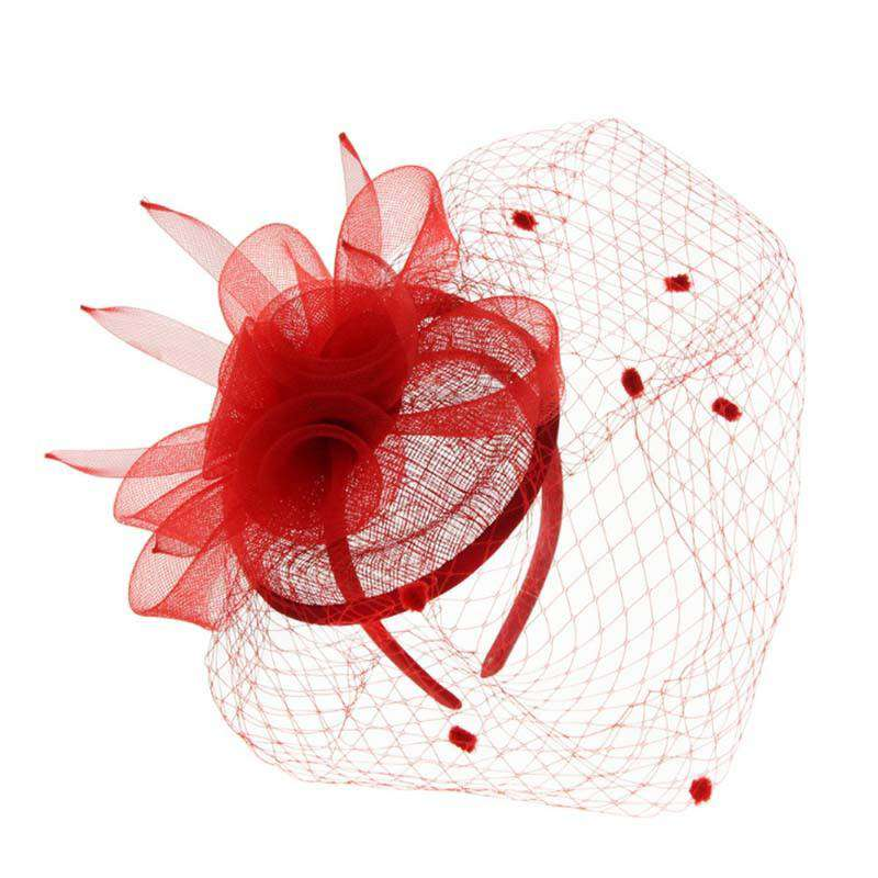 Sinamay Fascinator with Dotted Netting Veil - SetarTrading Hats