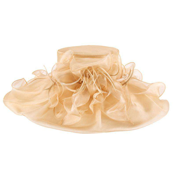 Large Organza Hat with Feather and Flower - SetarTrading Hats