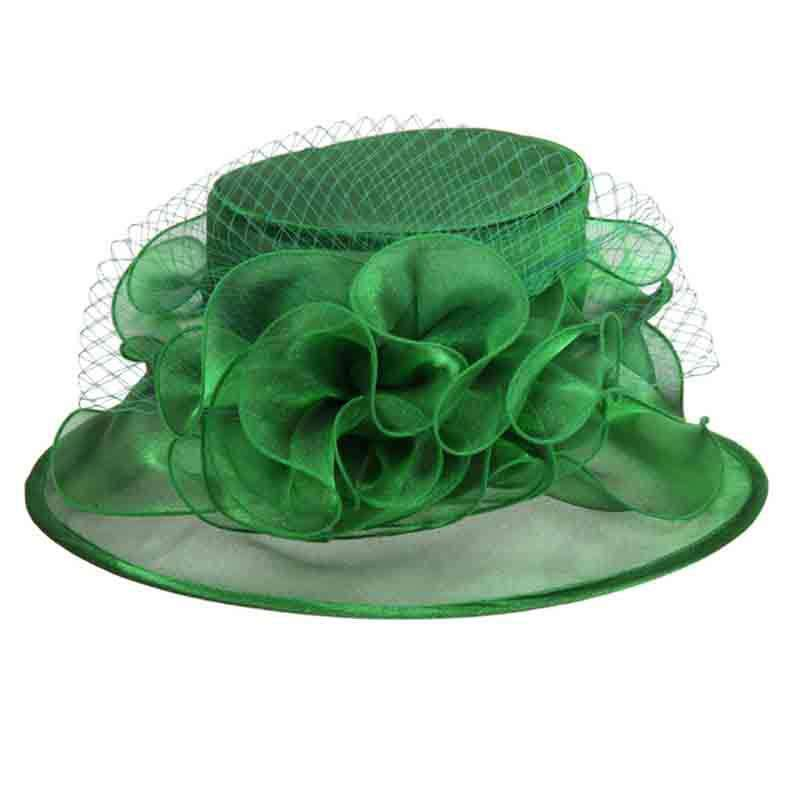 Floral Center Medium Brim Organza Hat