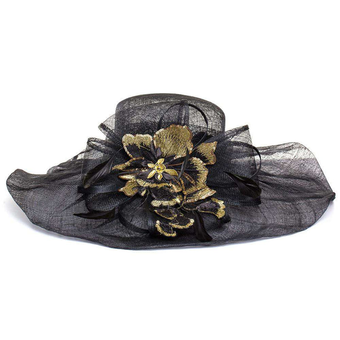 Sinamay Hat with Embroidered Applique - SetarTrading Hats