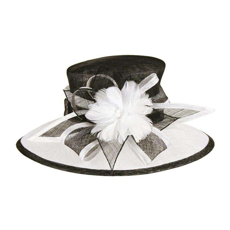 Two Tone Sinamay Hat with Flower Accent - SetarTrading Hats