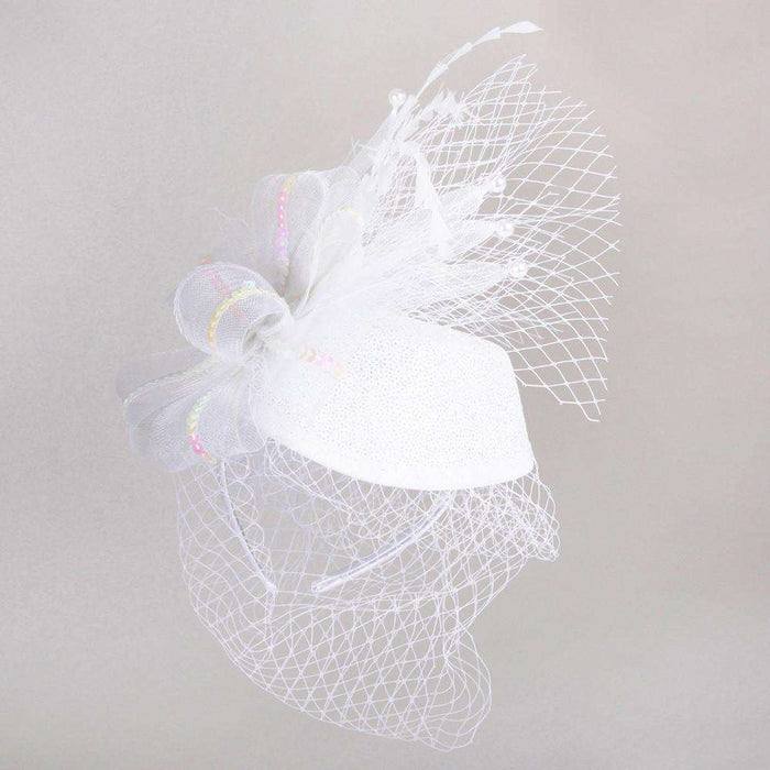 Sequin Headpiece with Netting Veil - SetarTrading Hats