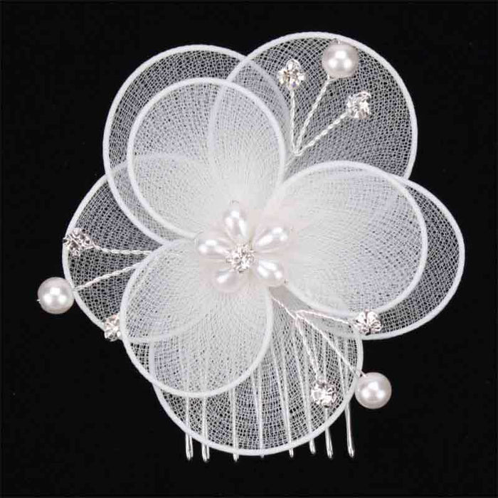 Mesh Flower with Beads and Pearl Bridal Hair Comb