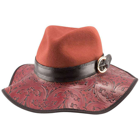 Janet - Embossed Leather Brim -Red