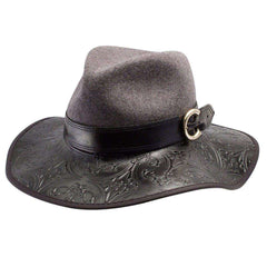 Janet - Embossed Leather Brim -Black - SetarTrading Hats