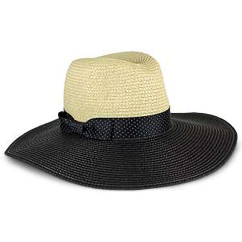 Black Polka Dot Ribbon Bow Safari Hat - Jones New York