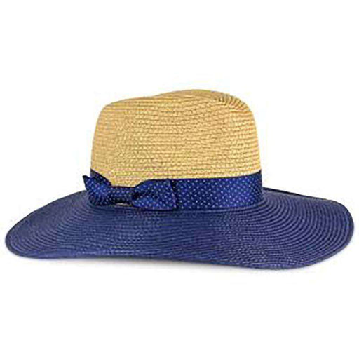 Navy Polka Dot Ribbon Bow Safari Hat - Jones New York