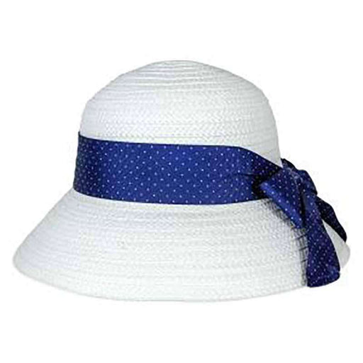 Blue Polka Dot Ribbon Bow Summer Bucket Hat - Jones New York - SetarTrading Hats