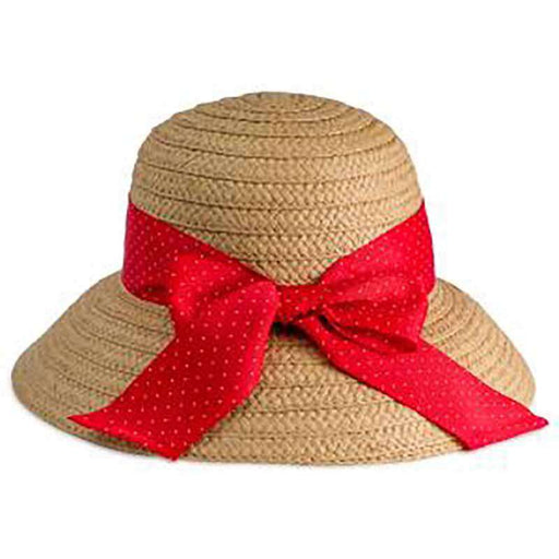 Red Polka Dot Ribbon Bow Summer Bucket Hat - Jones New York