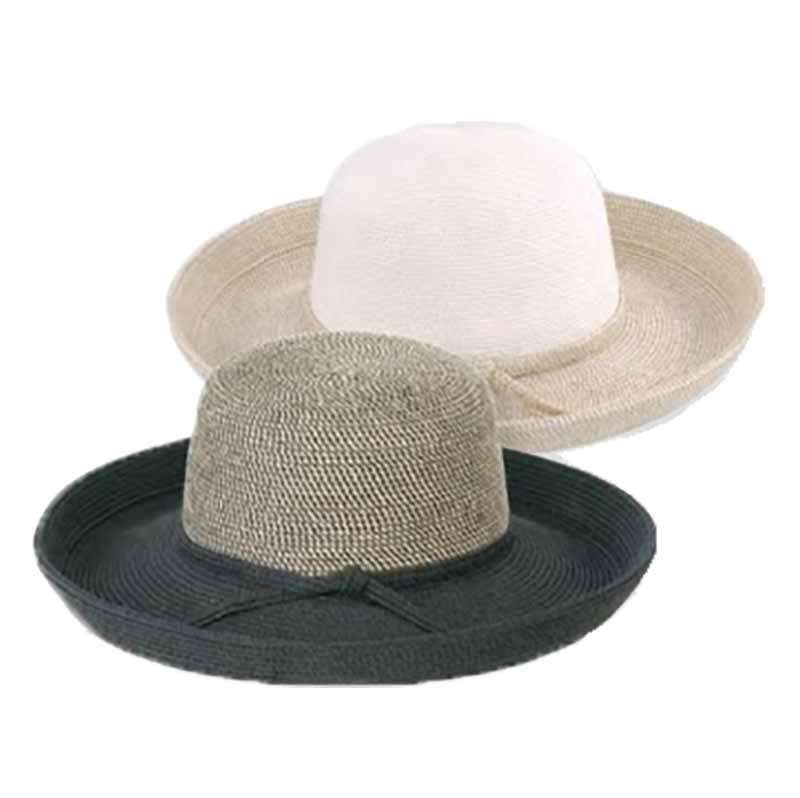 Two Tone Tweed Crown Kettle Brim Sun Hat - Jeanne Simmons Hats