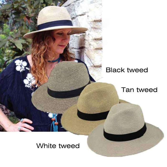 Tweed Straw Safari Hat - Jeane Simmons Hats