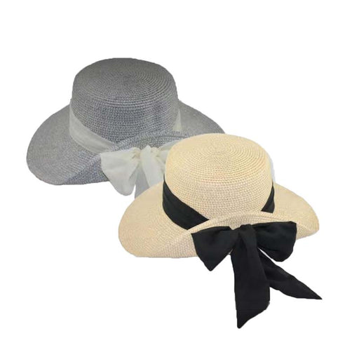 js8415 pinned up back sun hat with metallic thread long bow chiffon tie jeanne simmons hats